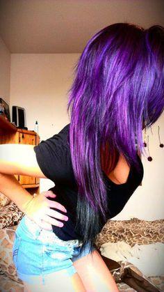 #purple & #black #dyed #scene #hair #pretty
