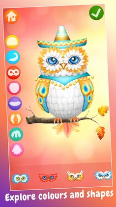Tiny Owl Maker App- Design cute little Owls with fancy feathers and fabulous costumes! Collect them in your very own gallery or print as colouring pages, birthday cards and party invitations.