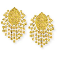 Alexander Laut Yellow Sapphire Fringe Earrings in 18K Gold (238.391.940 IDR) ❤ liked on Polyvore featuring jewelry, earrings, 18 karat gold earrings, round drop earrings, yellow gold drop earrings, gold earrings and gold jewelry