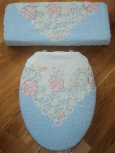 Love Vanilla Rose Shabby Victorian Chenille Toilet Seat Cover Set