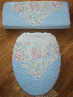 Love Vanilla Rose Shabby Victorian Chenille Toilet Seat Cover Set