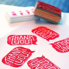 thank you stamps via yellow owl workshop