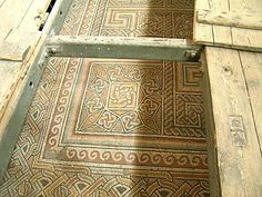 Ancient floor mosaics in the Church of the Nativity