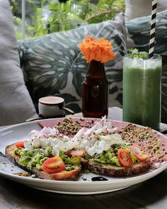 """Looking for something healthy for breakfast? Here's a new place you can try called @Koloni_Bali.  They have a good selections of healthy breakfast on their menu that comes with a catchy names too . Like this one is called """"You Look Smashing in Red Miss Avo"""" it's something good to cater their vegan customers consist of smashed avocade seasoned with citrus and cilantro spread on sourdough toast garnished with raddish and beet hummus dukkah and sprinkled with crunchy mix of spices nuts and…"""