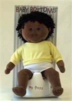 Baby Bottoms 14 inch African American Boy Rag Doll with Potty by the children's factory. $34.91. Includes Plastic Potty. Anatomically correct. Legs are designed to fit on the potty. Good toddler doll for potty training. Black Rag Boy Doll. 14 inch Baby Bottoms Black Rag Boy Doll is anatomically correct and comes with a plastic potty. His legs are designed to fit on the potty. Great toy to teach potty training.