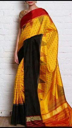 OnuOru » Yellow Handpainted Muga Silk Saree JR05   SAREE ...