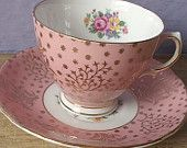 antique pink tea cup and saucer set, vintage 1950's Colclough English bone china tea set, pink gold tea cup