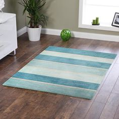 Main product photo of Modern Blue Bands Rug 220x150cm