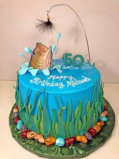Birthday Cakes for Men - Hands On Design Cakes 30th Birthday Cakes For Men, Fish Cake Birthday, Men Birthday, Birthday Gifts, Happy Birthday, Gone Fishing Cake, Fishing Cakes, Fishing Meme, Fisherman Cake
