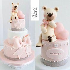 Simple elegant teddy bear cake
