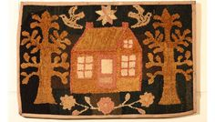 "Cottage for Two Hooked Rug, New England, c. 1900, 22 ½ x 35 ½"", STEPHEN SCORE ANTIQUES 