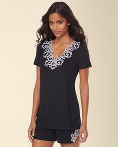 #MySomaWishList Soma Intimates Embraceable Cool Nights Lace Short Sleeve Pajama Top Black #somaintimates