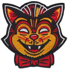 With a design reminiscent of vintage halloween masks, this black cat would love to creep his way onto your favorite jacket or vest. This patch has an iron-on backing making it perfect for easily apply