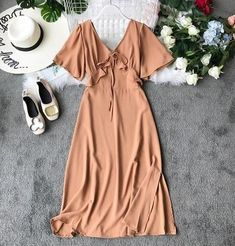 Sparkle dress short - Chic High Waist Slim Summer V Neck Solid Color Short Flare Sleeve Elegant Dress – Sparkle dress short Simple Dresses, Elegant Dresses, Casual Dresses, Short Dresses, Dresses For Work, Summer Dresses, Sexy Dresses, Modest Dresses, Formal Dresses