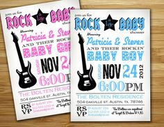 Baby shower invitation - ROCK a bye BABY boy, girl, gender neutral baby shower- . Rock Baby Showers, Star Baby Showers, Baby Shower Parties, Baby Shower Themes, Baby Shower Decorations, Baby Boy Shower, Shower Ideas, Rock A Bye Baby, Rock Star Party