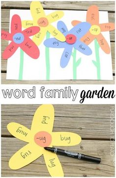Standard: know and apply grade-level phonics and word analysis skills in deciding words Word Family Garden! What a fun literacy center craftivity or word work station for kindergarten or first grade. Perfect for a spring unit! Word Family Activities, Spring Activities, Indoor Activities, Activities For 6 Year Olds, Baby Activities, Indoor Games, Kindergarten Lesson Plans, Kindergarten Activities, Kindergarten Word Work