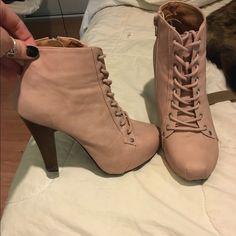Light pink lace up booties! NEVER WORN Super cute booties. 4 1/2 inch heel with side zipper Shoes Ankle Boots & Booties