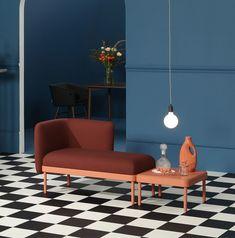 """Puzzeln für Fortgeschrittene und in Lebensgröße: """"Mosaico"""" des Studios Yonoh für Sancal lässt aus Sitz- und Tischelementen Wohntopografien entstehen."""