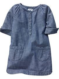 Chambray Shift Dresses for one of the girls to wear. Coordinate with sister wearing white corduroy dress.