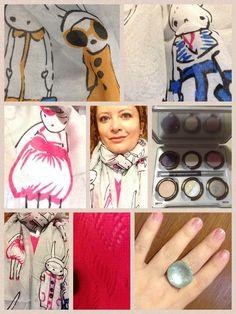 Mi look de hoy incluye el set Gilda de Urban Decay, un anillo que amo de Accesorize y mi muy amada pashmina de conejitos fashionistas de Little Treat Bag
