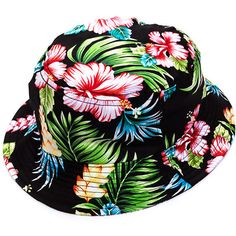 Hibiscus Honey Tropical Bucket Hat ❤ liked on Polyvore featuring accessories, hats, fishing hat, fisherman hat and bucket hat