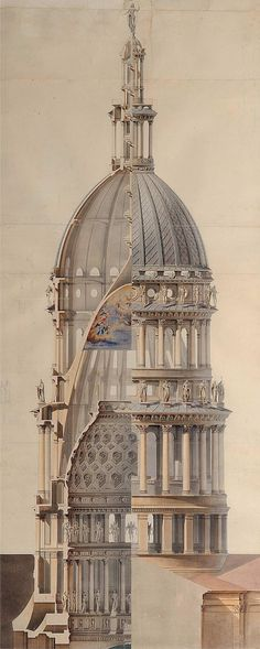 Architecture - Cross-Section of the dome of the Basilica of San Gaudenzio designed by Alessandro Antonelli [1200 x 2998]