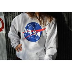 Nasa Meatball Gray Sweatshirt by Space Shirts (6.850 HUF) ❤ liked on Polyvore featuring tops, hoodies, sweatshirts, grey, t-shirts, women's clothing, grey top, sweater pullover, logo sweatshirts and pullover sweatshirt