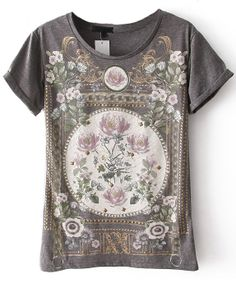 Grey Short Sleeve Floral Cotton T-Shirt US$21.61