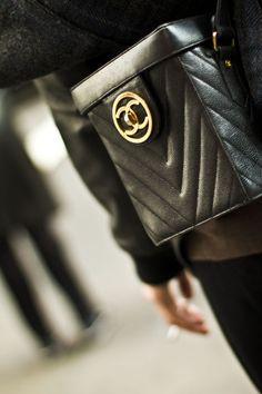 Chanel black leather crossbody bag w/ gold hardware