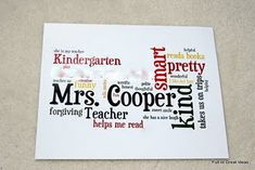 Perfect for lesson on adjectives! Student uses words to describe their teacher. create using wordle. Do this for individual students as a team building idea. Student Teacher Gifts, Music Teacher Gifts, Teacher Appreciation Gifts, My Teacher, Teacher Party, Teacher Birthday, Appreciation Quotes, Student Teaching, School Teacher