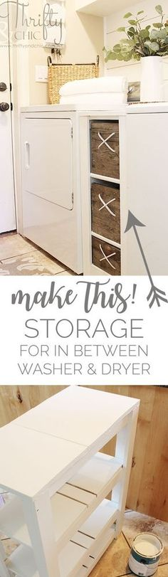 Add extra storage to a small laundry space. Great laundry organization!