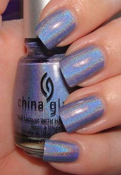 "China Glaze ""2NITE"": sky-blue with a very strong holo shimmer"