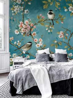 Blossom – decorate with a wall mural Flower Mural, Wallpaper Decor, Wallpaper For Home, Bird Wallpaper Bedroom, Teal And Pink, Beautiful Wall, Decorating Your Home, Wall Murals, Bedroom Decor