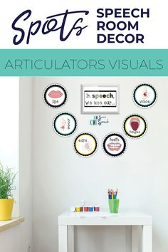 This spots themed speech therapy room decor kit has everything you need to decorate your speech therapy room or bulletin board with FUNCTIONAL decor that adds value to your speech room. This set includes posters, door decor, bulletin board decor, visual aids, banners, and many more! - Kiwi Speech #speechroomdecor #speechroomposters #bulletinboarddecor Articulation Therapy, Speech Therapy Activities, Language Activities, Speech Language Pathology, Speech And Language, Visual Aids, Speech Room, Room Setup, Room Posters