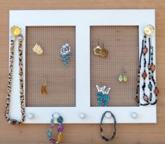 Jewelry Holder, Earring Holder, Necklace Holder , Wall Mounted Jewelry Holder