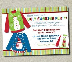 Ugly Sweater Party Invitation  Christmas Card by ForeverYourPrints, $12.00