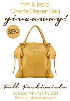 FABULOUS diaper bag giveaway alert!  Win this gorgeous Charlie Bag in Mustard!  It's perfect for fall!