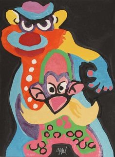 Artist: Karel Appel, Dutch (1921 - 2006) Title: The Circus Suite, Clown Anti Robot from Portfolio II Year: 1978 Medium: Woodcut with Embossing, Complete Series is of 30 Woodcuts with Embossing and Wood Sculpture Case (individually signed and numbered) Edition: 130, XX Size: 29.5 in. x 22 in. (74.93 cm x 55.88 cm)