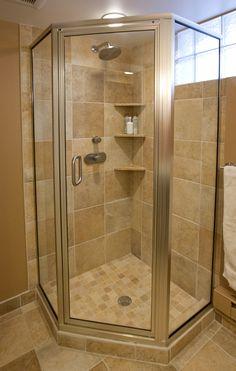 45 Trendy Ideas Corner Shower Remodel Ideas Floors - My Home Decor Bathroom Layout, Basement Bathroom, Small Bathroom, Master Bathroom, Bathroom Showers, Bathroom Ideas, Tiny Bathrooms, Master Shower, Glass Showers