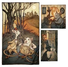 """""""City Mouse, Country Mouse"""" one of my favorite Aesop's Fables        Audrey Benjaminsen 2012"""
