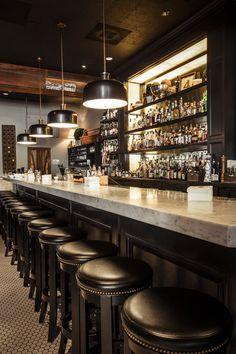 Cool back bar shelving. Kinda like the contrast between the lighter bar top and dark stools. Home Bar Decor, Pub Decor, Diy Home Bar, Bars For Home, Pub Design, Back Bar Design, Pub Interior, Bar Interior Design, Restaurant Interior Design