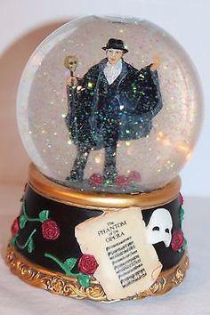Phantom Of The Opera Musical Snow Globe Masquerade San Francisco Music Box Vguc