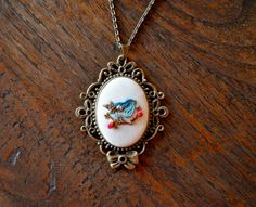 Embroidered+Bird+Necklace++Bluebird+Necklace++by+Maguida+on+Etsy,+$42.00