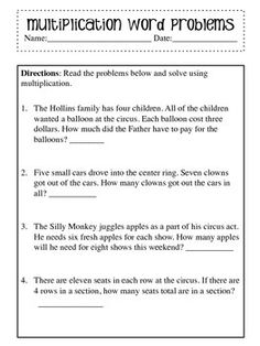Multiplication Word Problem Worksheet Four Word Problems for your students to practice reading word problems in math and using multiplication to solve the problems. Great for multiplication bell ringers, math centers, math homework or math daily work. Math Division Worksheets, Subject And Predicate Worksheets, 3rd Grade Math Worksheets, Geometry Worksheets, Word Problems 3rd Grade, 3rd Grade Words, Grade 3, Logic Problems, Math Multiplication