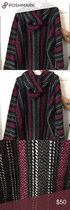 Baja Blanket Sweater Baja Blanket Sweater - black, white and pink ...