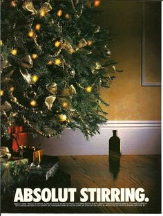 1994 Absolut Stirring Twas Night Before Christmas Tree Vodka VINTAGE PRINT AD #Absolut