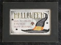 Waxing Moon Designs - Halloween Cobwebs ML21 - Halloween Counted Cross Stitch Chart Pattern  Halloween When the cobwebs in my house become decorations. Model stitched on 28ct Stormy Gray Linen by Wichelt Imports (not included) with a stitch count of 69 x 118, approximate size 5 x 8.5. Instructions given using The Gentle Art Sampler Threads (sold separately): Moss, Daffodil, Loganberry, Soot, Fragrant Cloves, Harvest Moon and Black Licorice with DMC alternates to Gentle Art threads listed…