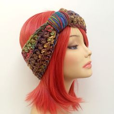 """FREE SHIPPING - Crochet Knotted Turban Ear Warmer Headband - Tan, Rainbow, Pink, Orange, Yellow, Gold, Green, Blue Purple, Violet Coupon code """"Pin10"""" saves you 10%! #christmas #gift #giftguide #giftsforher #crochet #etsy #yarn"""