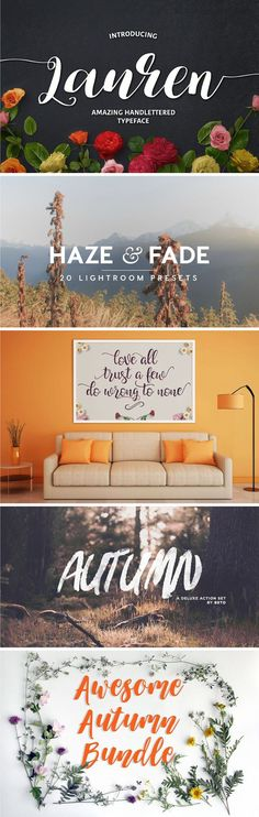 This Autumn Design Bundle is packed with 22 fantastic design elements. From Fall inspired fonts to Autumn designs there is literally something in this pack for everybody.  CHECK OUT THE AUTUMN DESIGN BUNDLE >>  It's $19 for 22 items including fonts, templates, mockups, Adobe Lightroom presets, hand-drawn and vector designs elements. With a retail price of $262 – you are saving $243 on this fantastic one-time bundle.