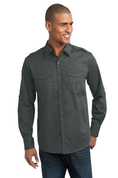 Port Authority Stain-Resistant Roll Sleeve Twill Shirt S649 Steel Grey